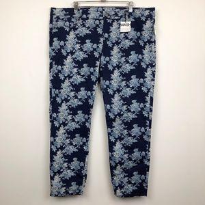 NWT Gap 1969 Blue Floral Always Skinny Jeans